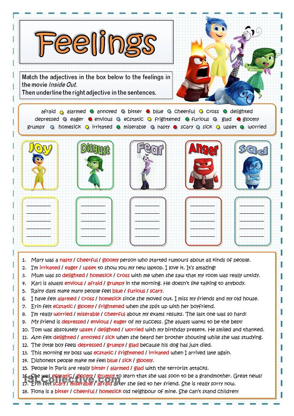 Inside Out - Feelings And Emotions … | Being A Teacher | Couns… | Emotional Intelligence Activities For Children Printable Worksheets