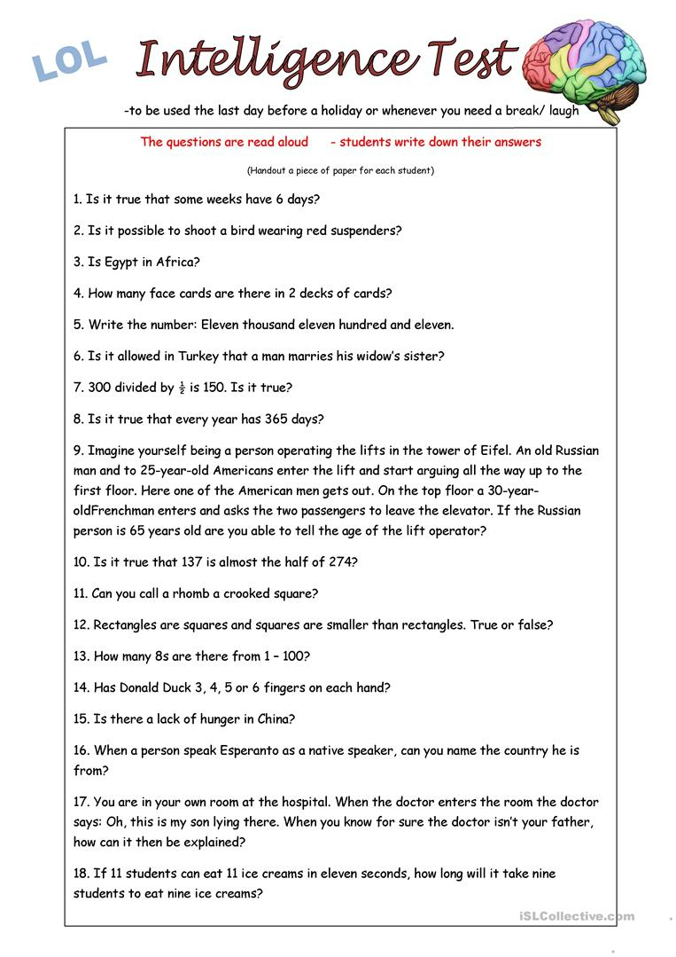 Iq Test Worksheet - Free Esl Printable Worksheets Madeteachers | Test Worksheets Printable
