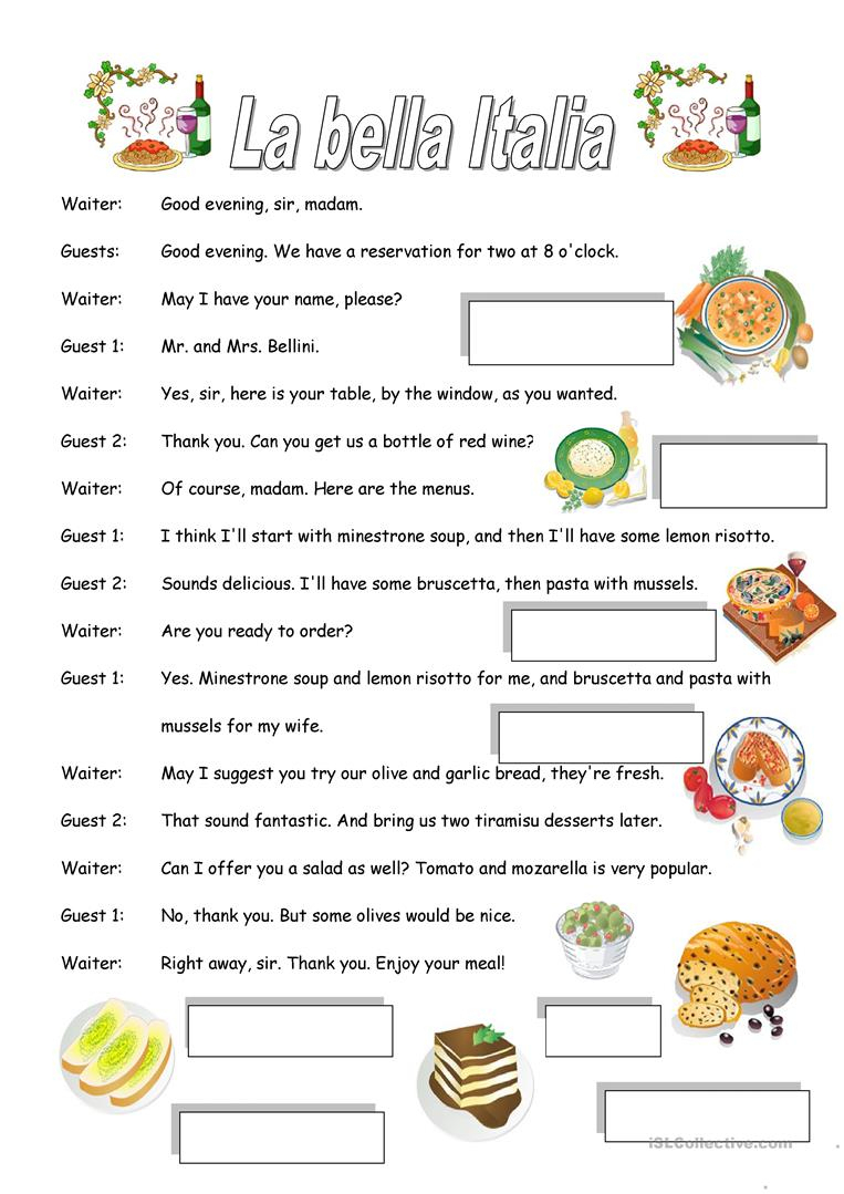 Italian Restaurant Worksheet - Free Esl Printable Worksheets Made | Italian Worksheets For Beginners Printable