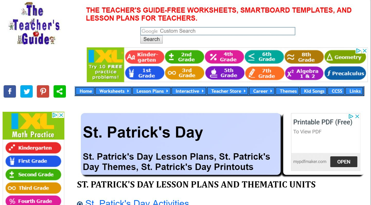 Ixl Math Website | Free Teacher Printables, Worksheets | Teacher Websites Free Printable Worksheets