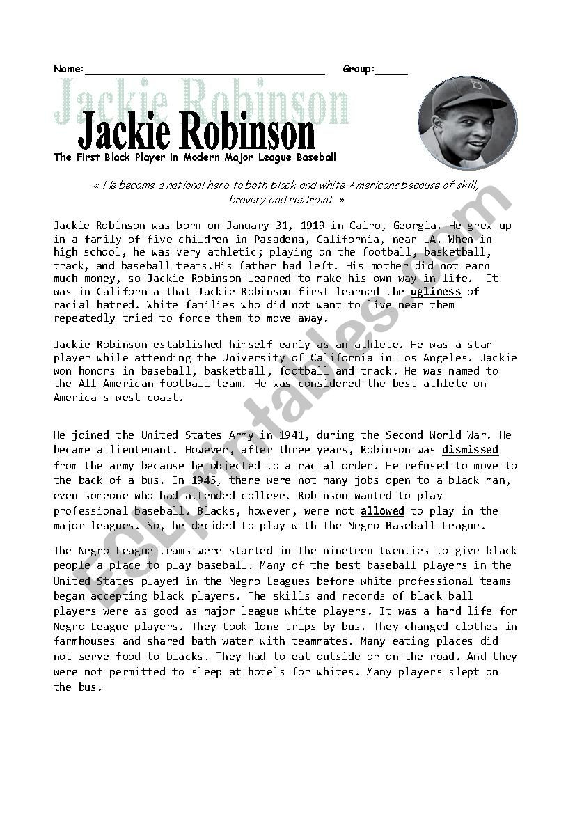 Jackie Robinson - Esl Worksheetheidou | Free Printable Worksheets On Jackie Robinson