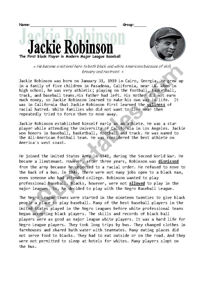 Jackie Robinson - Esl Worksheetheidou | Free Printable Worksheets On Jackie Robinson