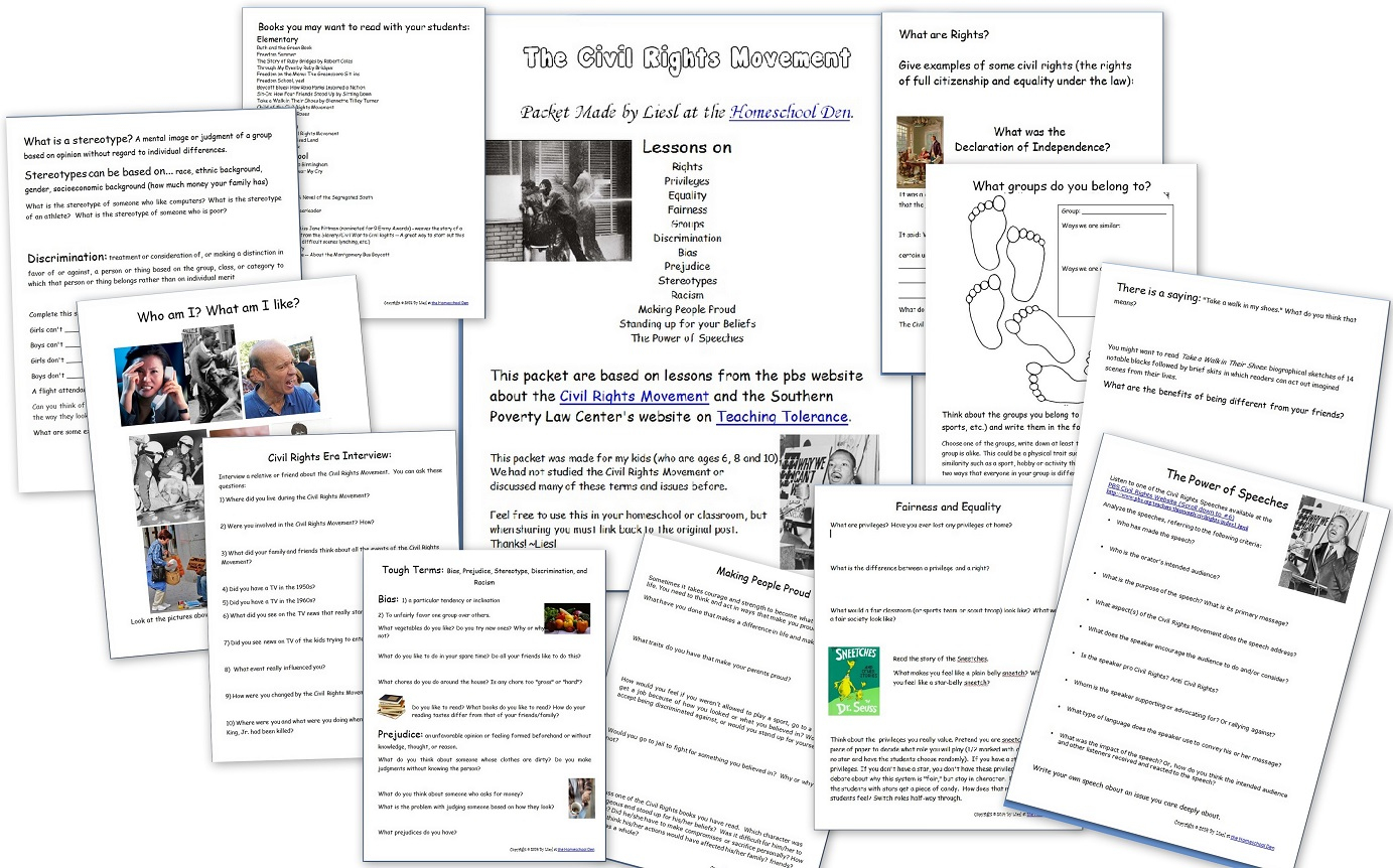 Key Events Of The Civil Rights Movement (Free Packet) - Homeschool Den | Civil Rights Movement Worksheets Printable