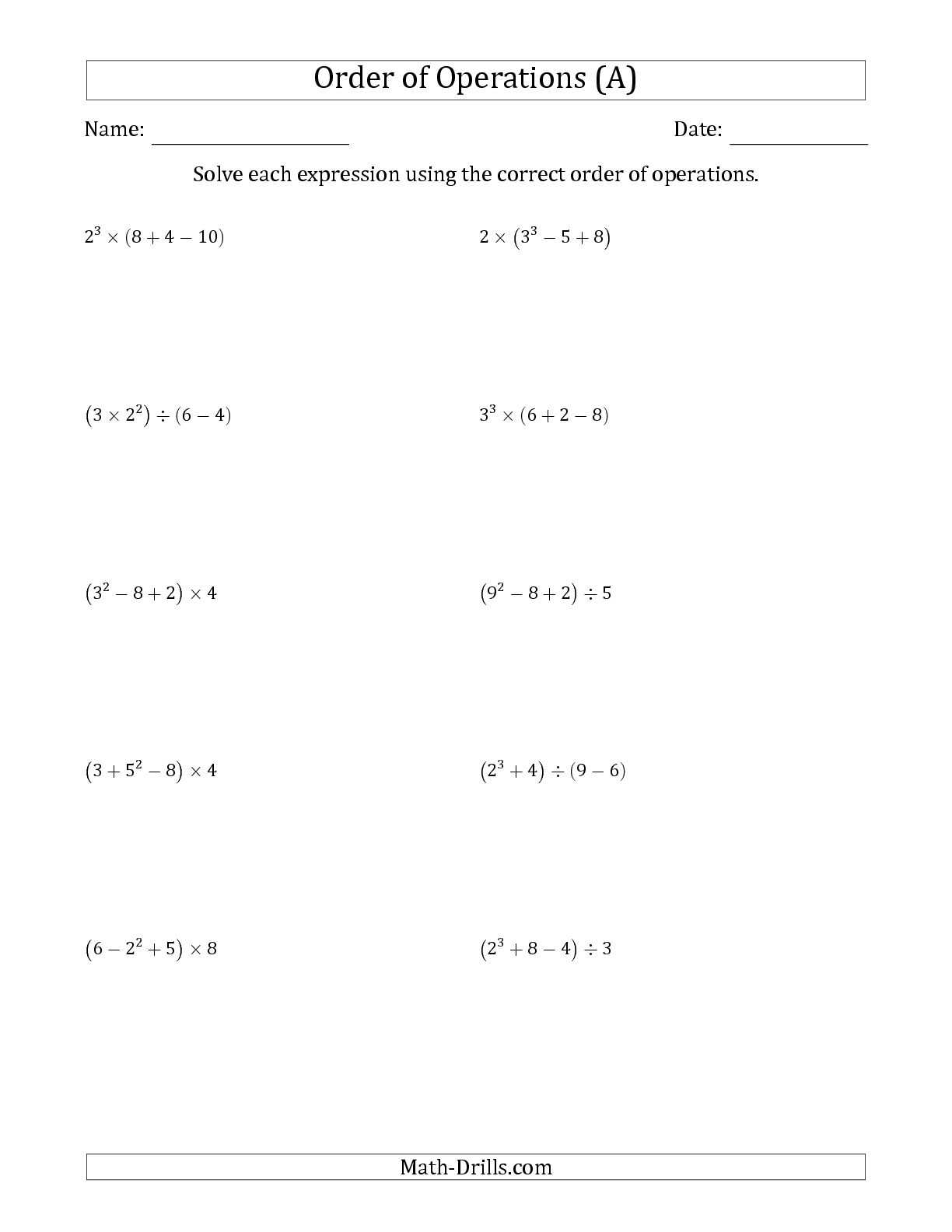 Kids : Order Of Operations Worksheets 7Th Grade Order Of Operations | Order Of Operations Free Printable Worksheets With Answers