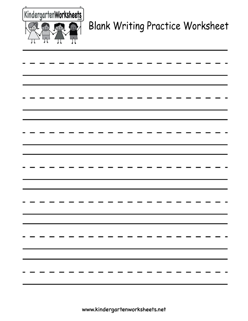 Kindergarten Blank Writing Practice Worksheet Printable | Writing | Free Printable Writing Worksheets For Kindergarten
