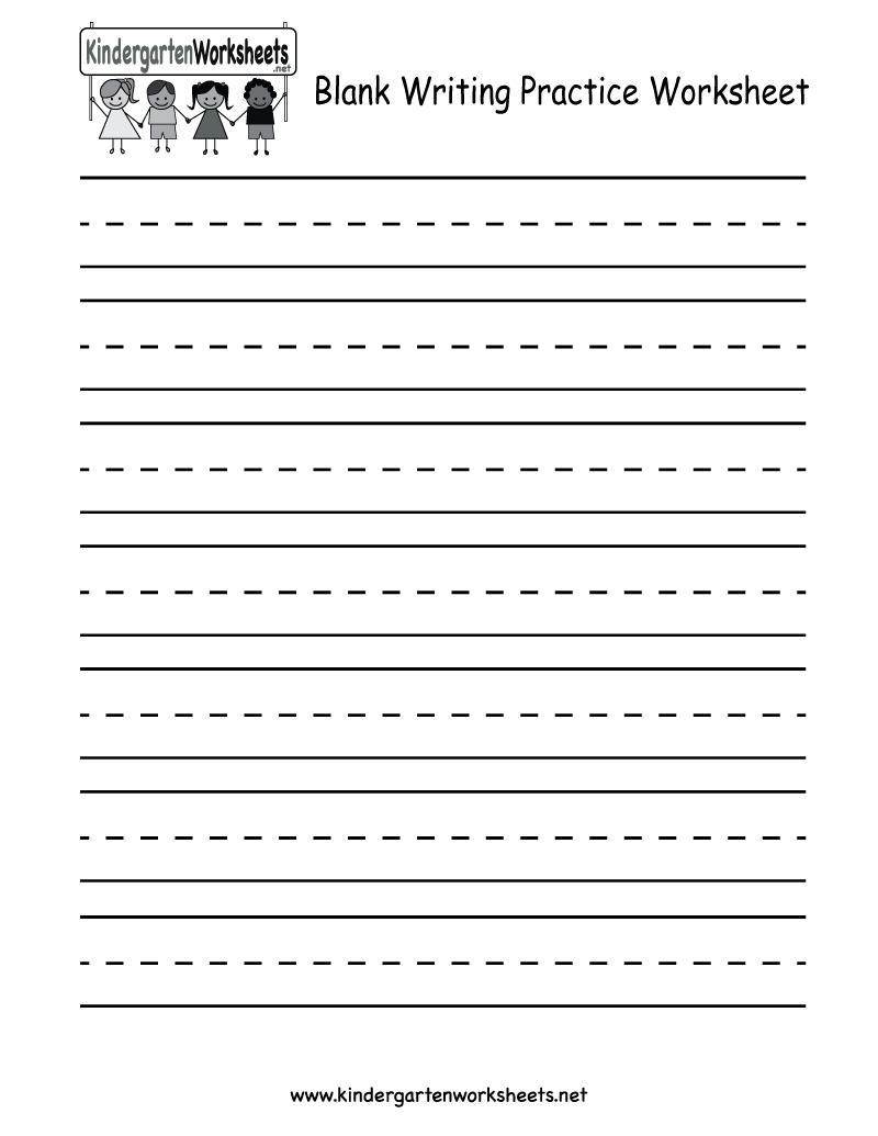 Kindergarten Blank Writing Practice Worksheet Printable | Writing | Printable Blank Handwriting Worksheets
