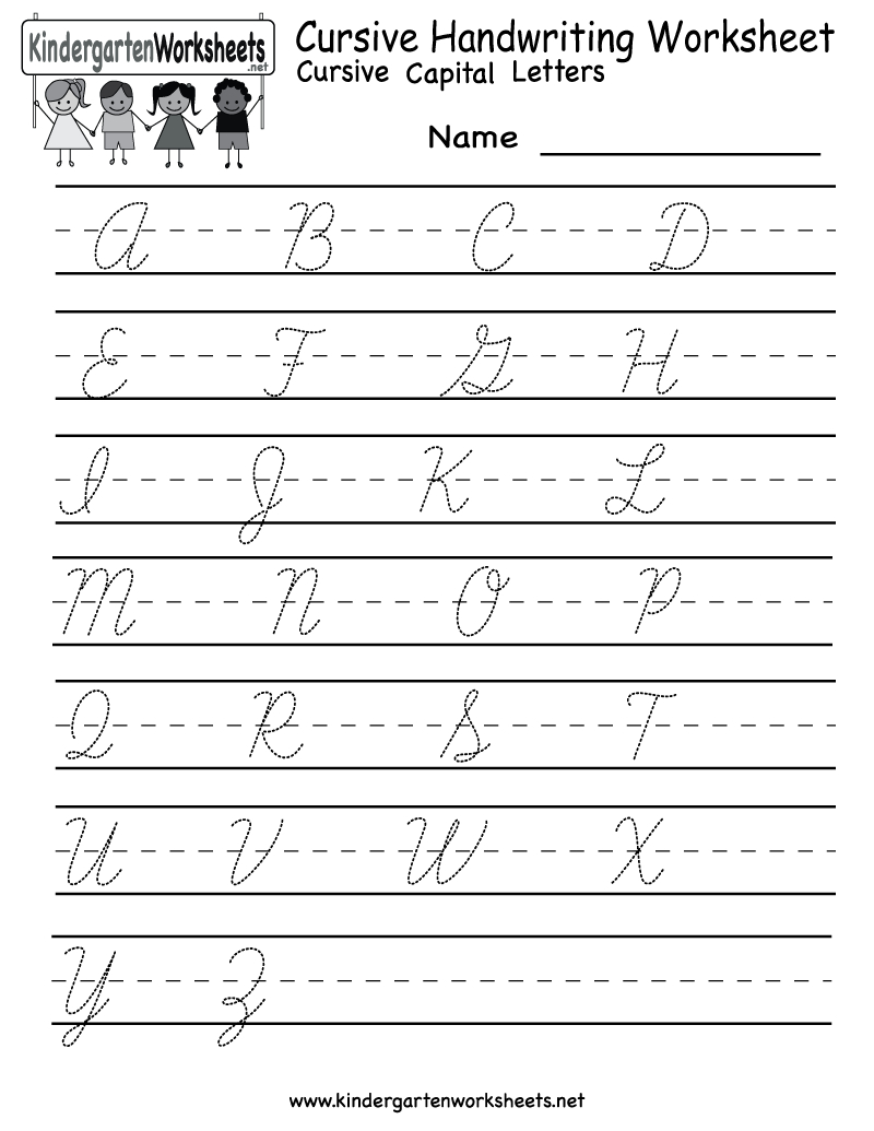 Kindergarten Cursive Handwriting Worksheet Printable | School And | Printable Cursive Worksheets