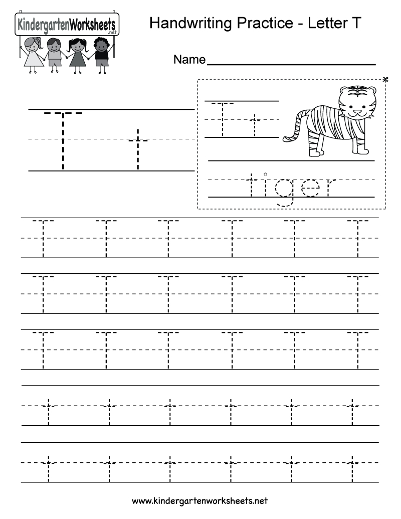 Kindergarten Free Printable Letter T Writing Practice Worksheet For | Spanish Alphabet Worksheet Printable