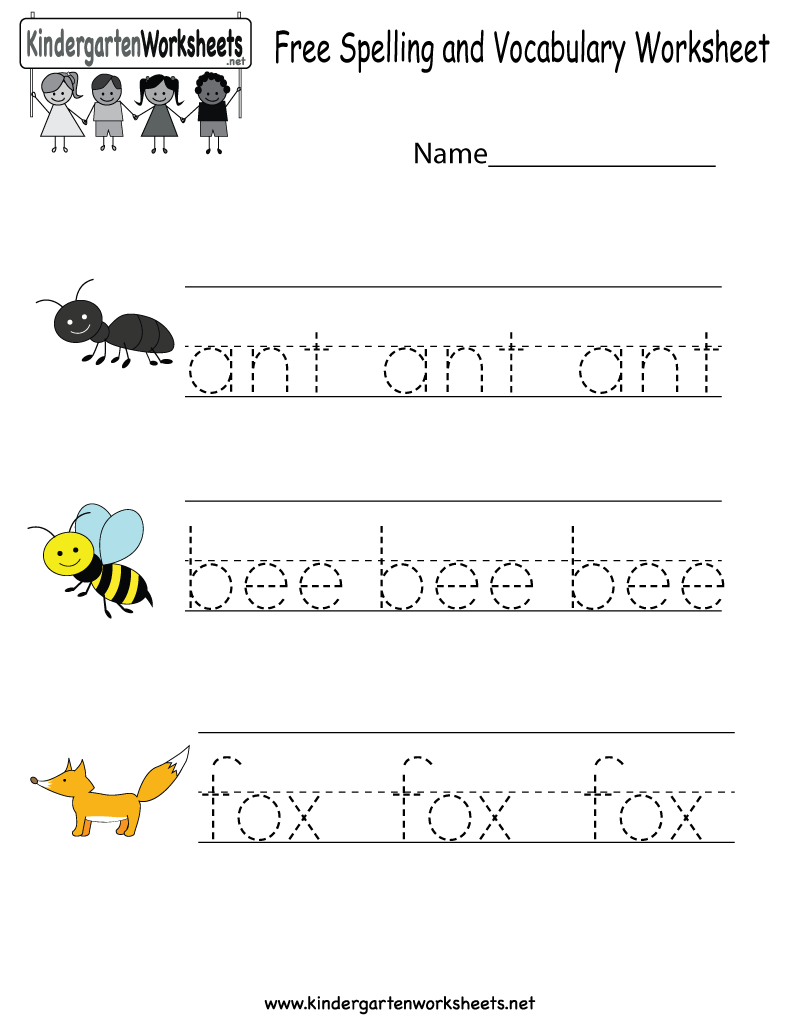 Kindergarten Free Spelling And Vocabulary Worksheet Printable | Printable Spelling Worksheets For Kindergarten