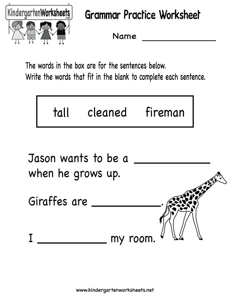 Kindergarten Grammar Practice Worksheet Printable | Worksheets | Kindergarten Ela Printable Worksheets