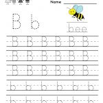 Kindergarten Letter B Writing Practice Worksheet Printable | Things | English Worksheets Free Printables
