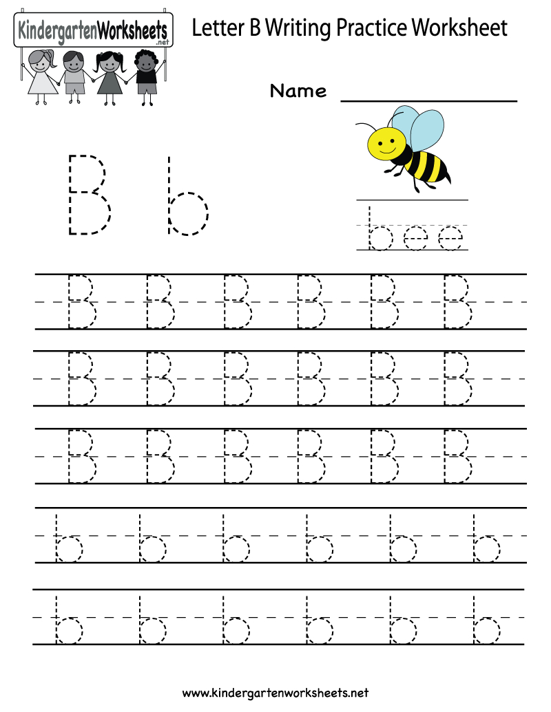 Kindergarten Letter B Writing Practice Worksheet Printable | Things | Free Printable Letter Writing Worksheets