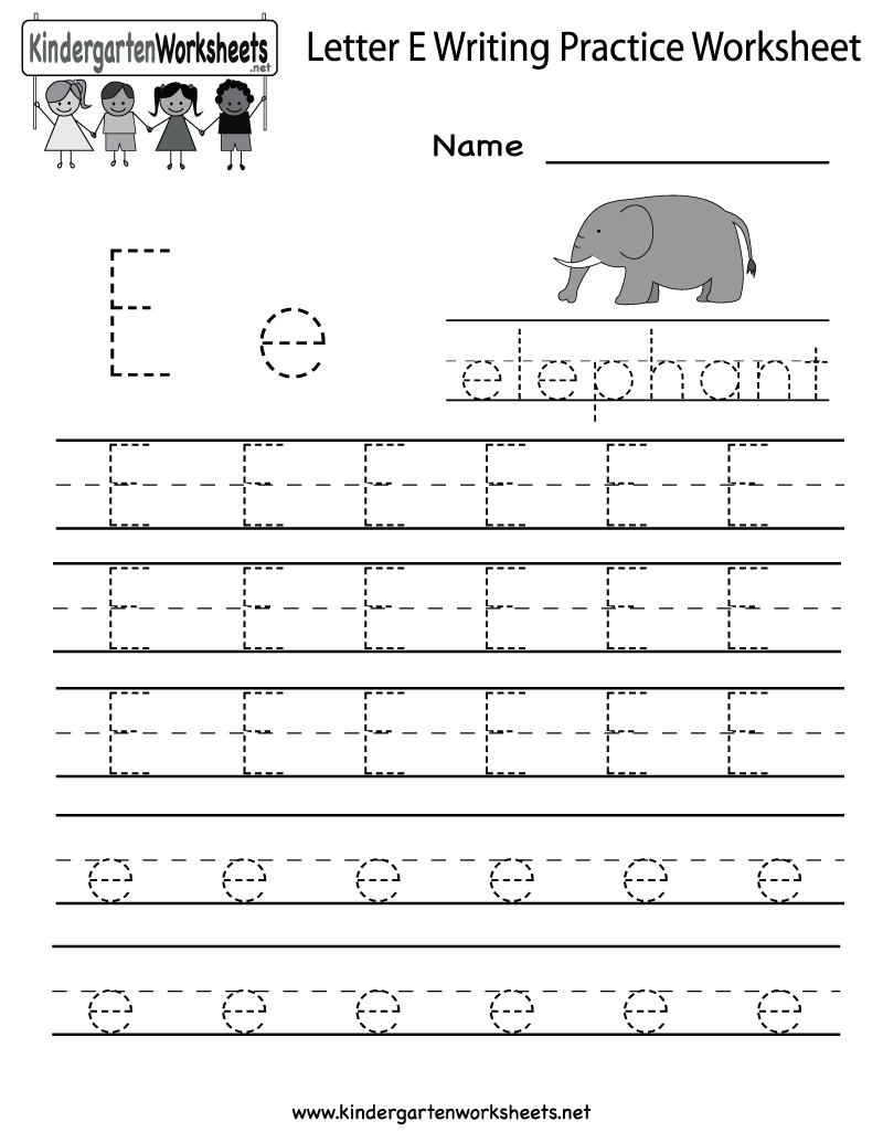 Kindergarten Letter E Writing Practice Worksheet Printable | Letter E Free Printable Worksheets