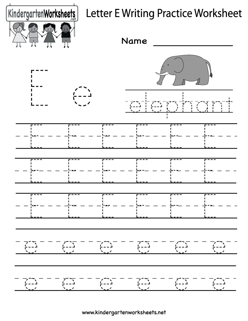 Kindergarten Letter E Writing Practice Worksheet Printable | Letter E Printable Worksheets