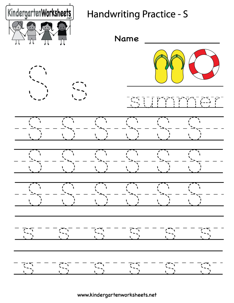 Kindergarten Letter S Writing Practice Worksheet Printable | G | Free Printable Writing Worksheets For Kindergarten