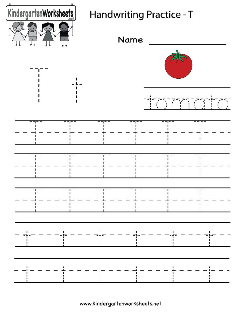 Kindergarten Letter T Writing Practice Worksheet Printable | Letter | Trace Your Name Worksheets Printables