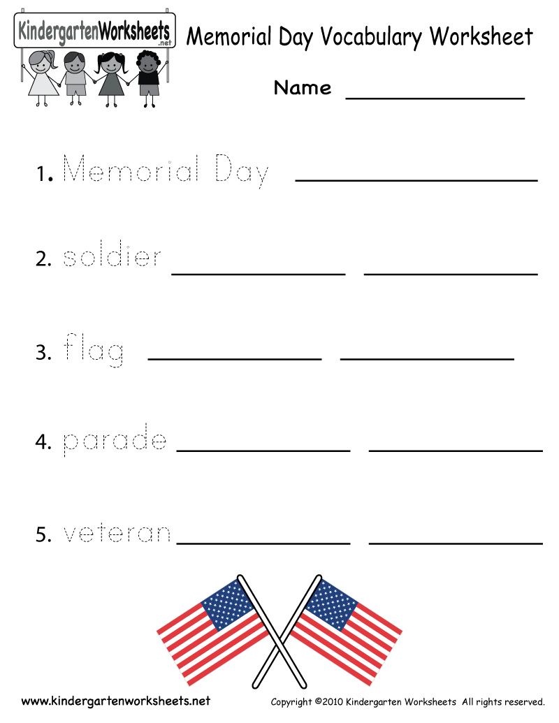 Kindergarten Memorial Day Vocabulary Worksheet Printable | Free Printable Labor Day Worksheets
