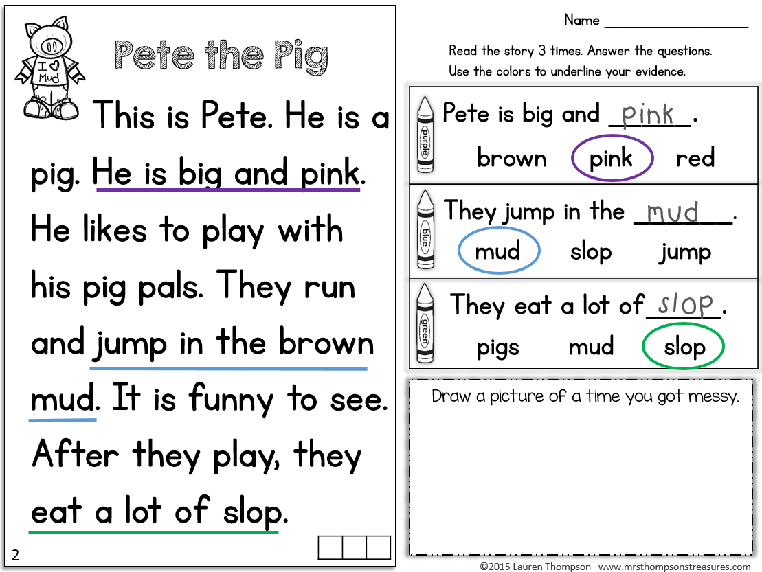 Kindergarten Reading Worksheets – With Free Math For Kids Also 3Rd | Kindergarten Reading Printable Worksheets