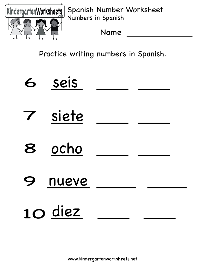 Kindergarten Spanish Number Worksheet Printable | Teaching Spanish | Free Printable Elementary Spanish Worksheets