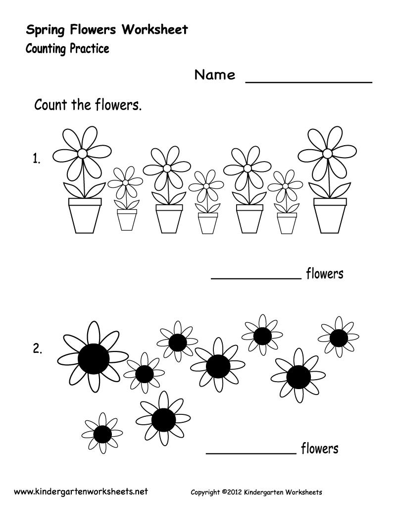 Kindergarten Spring Flowers Worksheet Printable | Spring Worksheets | Spring Printable Worksheets