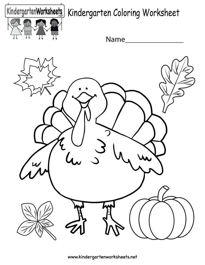 Kindergarten Thanksgiving Coloring Worksheet Printable - Free | Printable Thanksgiving Worksheets Kindergarten