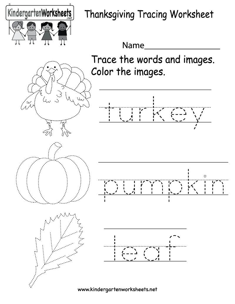 Kindergarten Thanksgiving Tracing Worksheet Printable | Thanksgiving | Printable Thanksgiving Worksheets Kindergarten