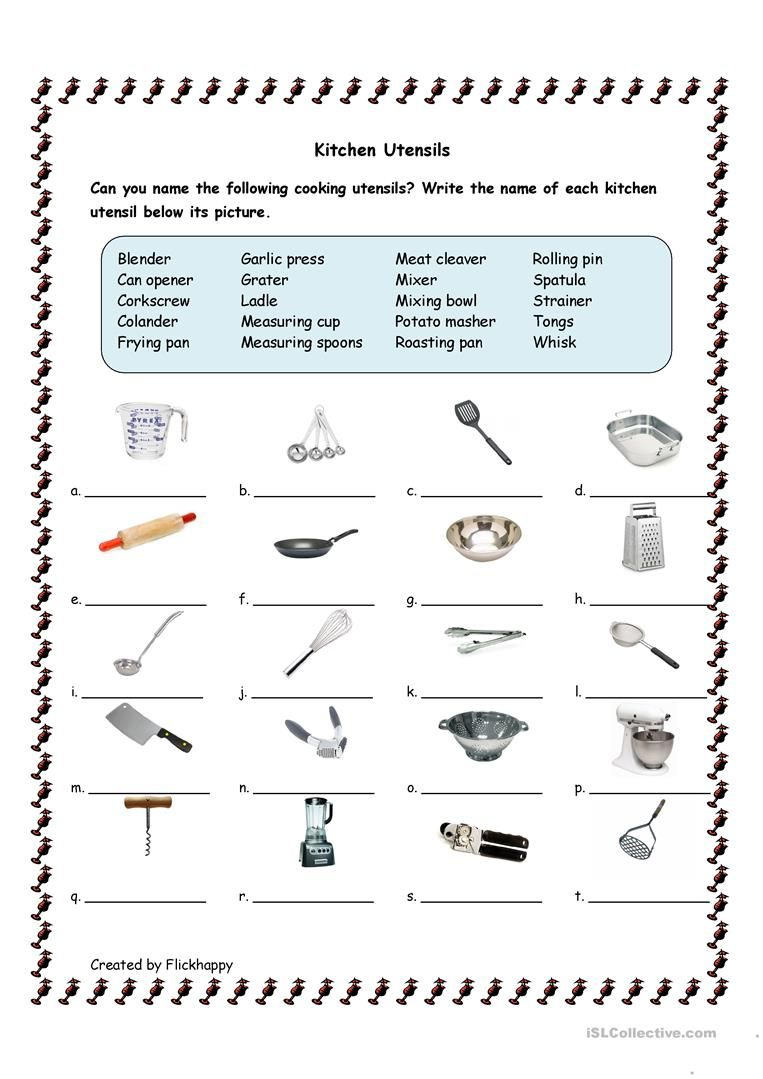 Kitchen Utensils Worksheet - Free Esl Printable Worksheets Made | Free Printable Cooking Worksheets