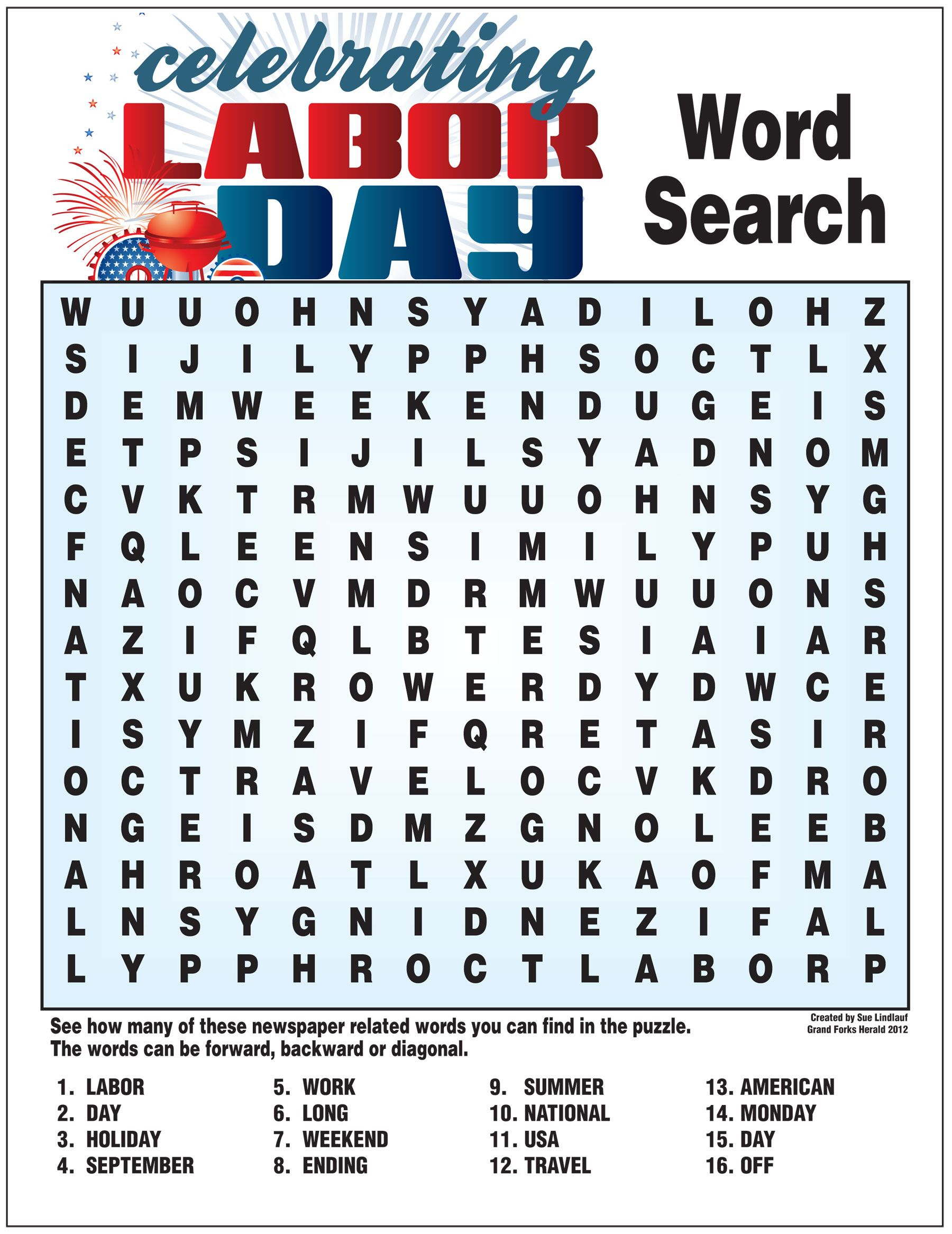Labor Day Word Search | Activities/work Related | Labor Day Crafts | Free Printable Labor Day Worksheets