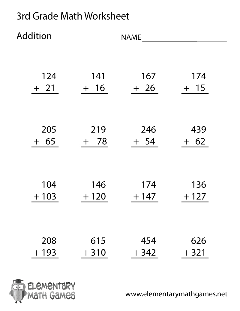 Learn And Practice Addition With This Printable 3Rd Grade Elementary | Free Printable Addition Worksheets For 3Rd Grade
