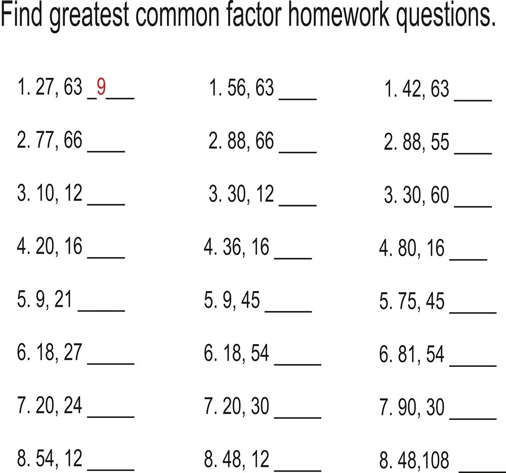 Least Common Multiple And Greatest Common Factor Worksheet Math | Free Printable Greatest Common Factor Worksheets