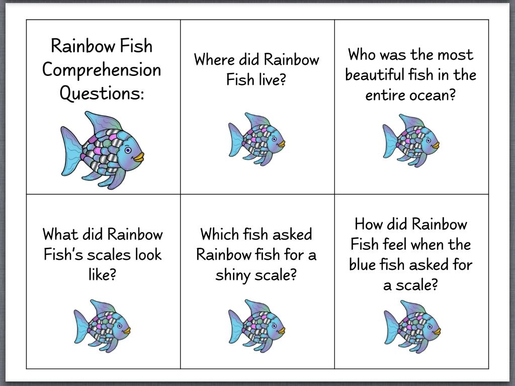 Let's Talk!: The Rainbow Fish (Page 2) | Activites Based On Books | Rainbow Fish Printable Worksheets