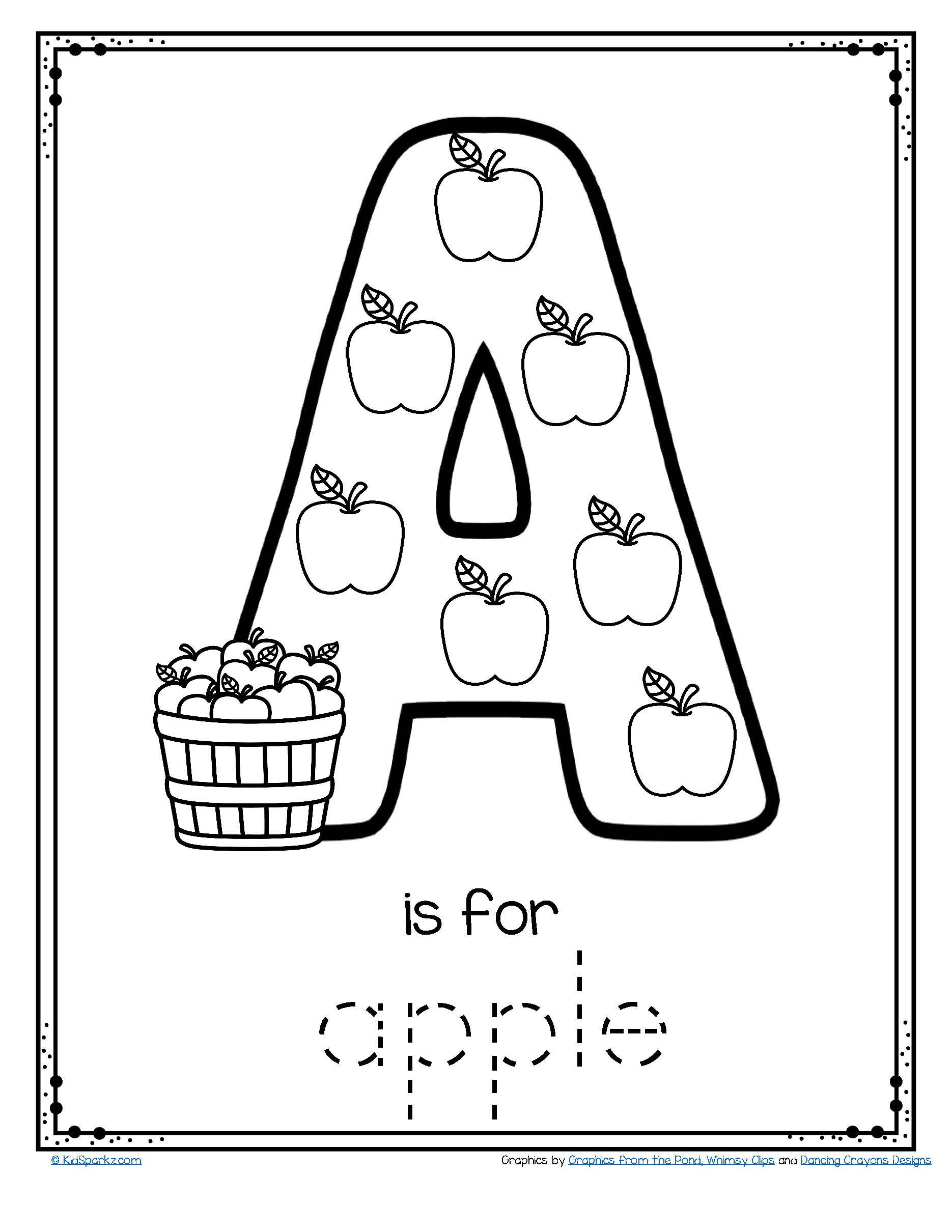 Letter A Is For Apple - Trace And Color Printable Free | Apples | Free Printable Color By Letter Worksheets