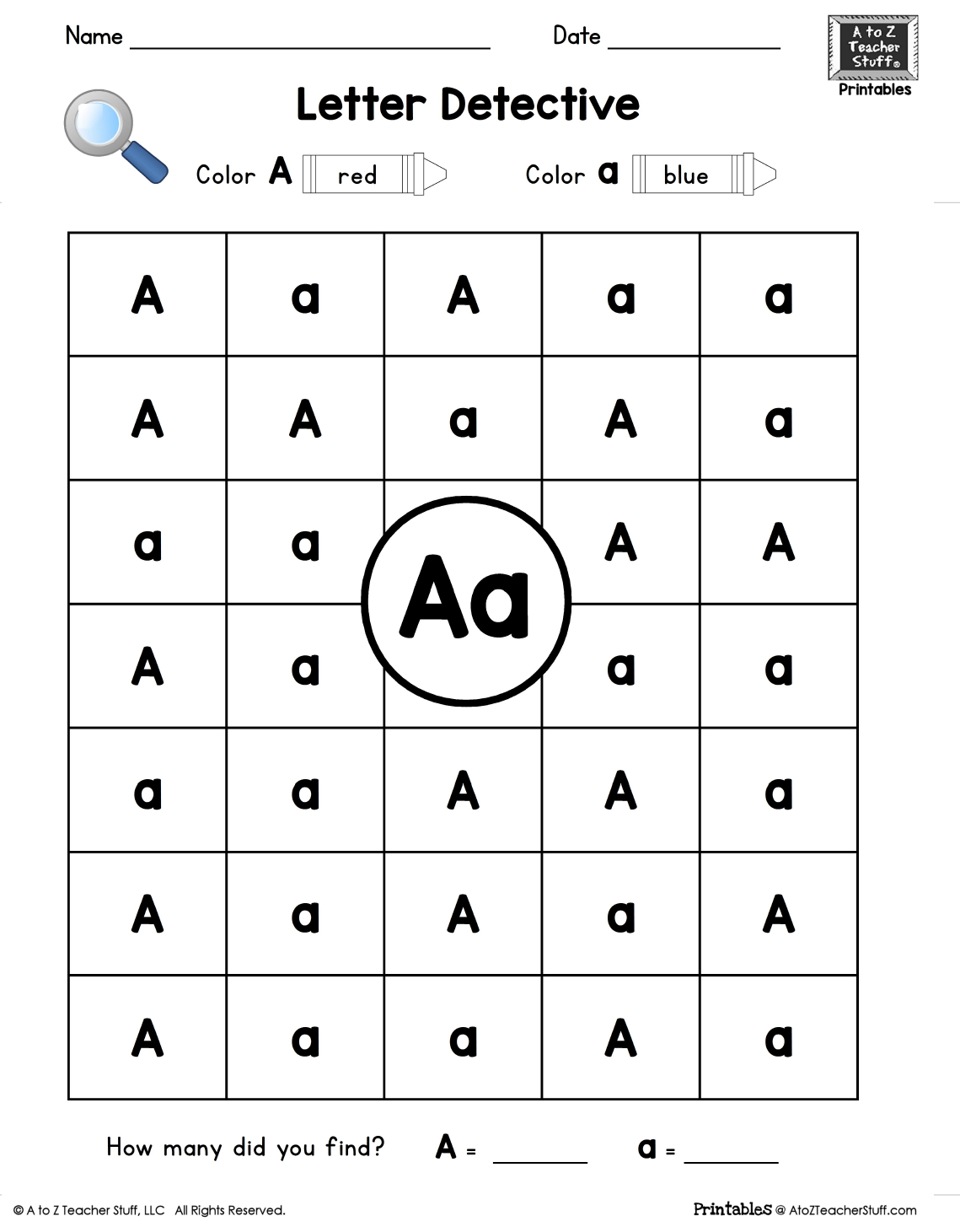 Letter A: Letter Detective Uppercase & Lowercase Visual | Free Printable Upper And Lowercase Letters Worksheets