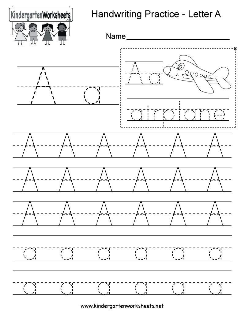 Letter A Writing Practice Worksheet - Free Kindergarten English | Kindergarten Worksheets Printable Writing