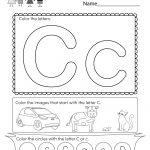 Letter C Coloring Worksheet   Free Kindergarten English Worksheet | Free Printable Color By Letter Worksheets