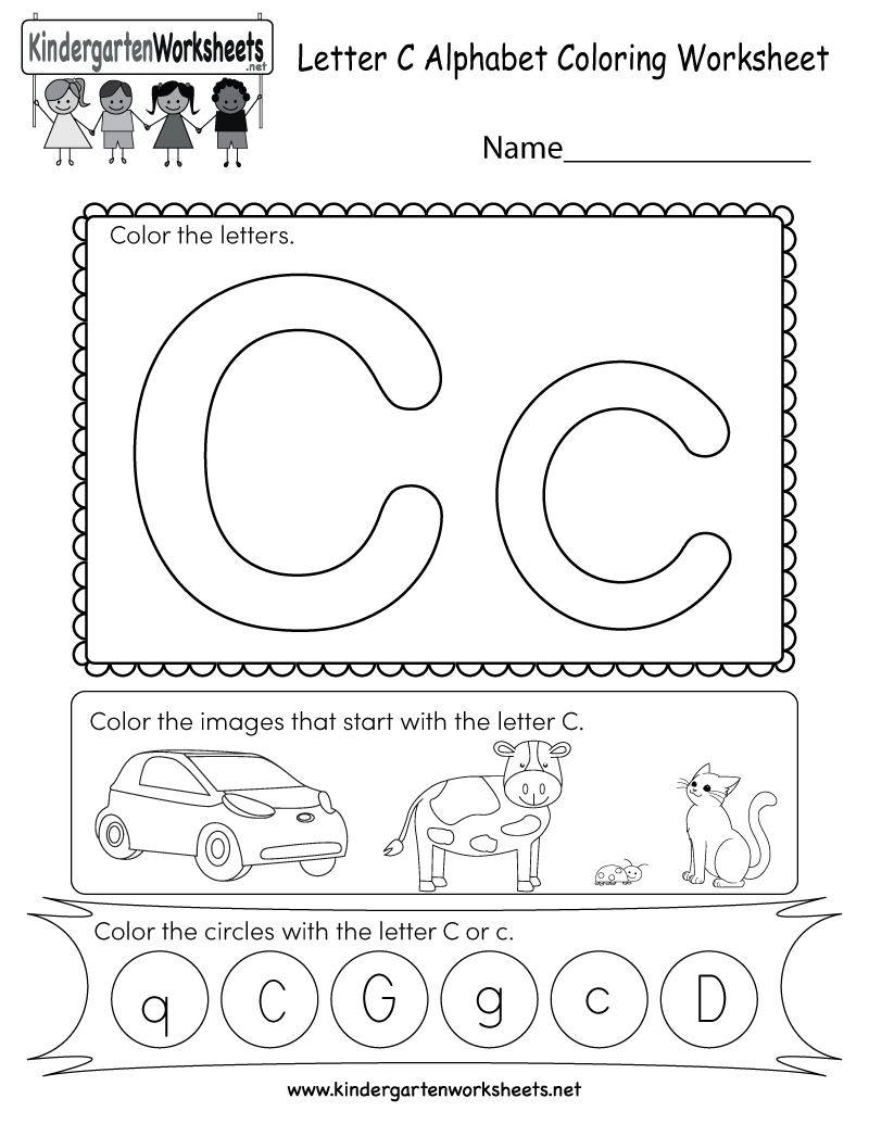 Letter C Coloring Worksheet - Free Kindergarten English Worksheet | Letter C Printable Worksheets