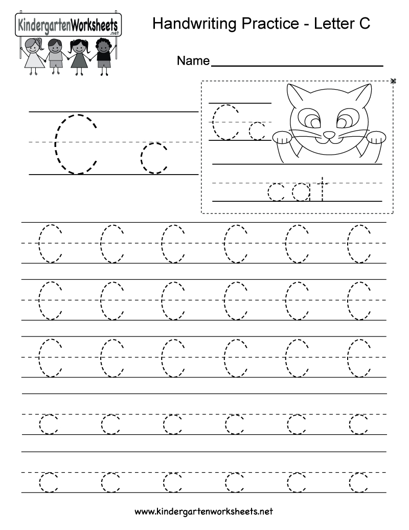 Letter C Writing Practice Worksheet - Free Kindergarten English | Letter C Printable Worksheets