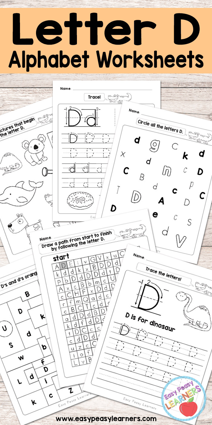 Letter D Worksheets - Alphabet Series - Easy Peasy Learners | Printable Letter Worksheets