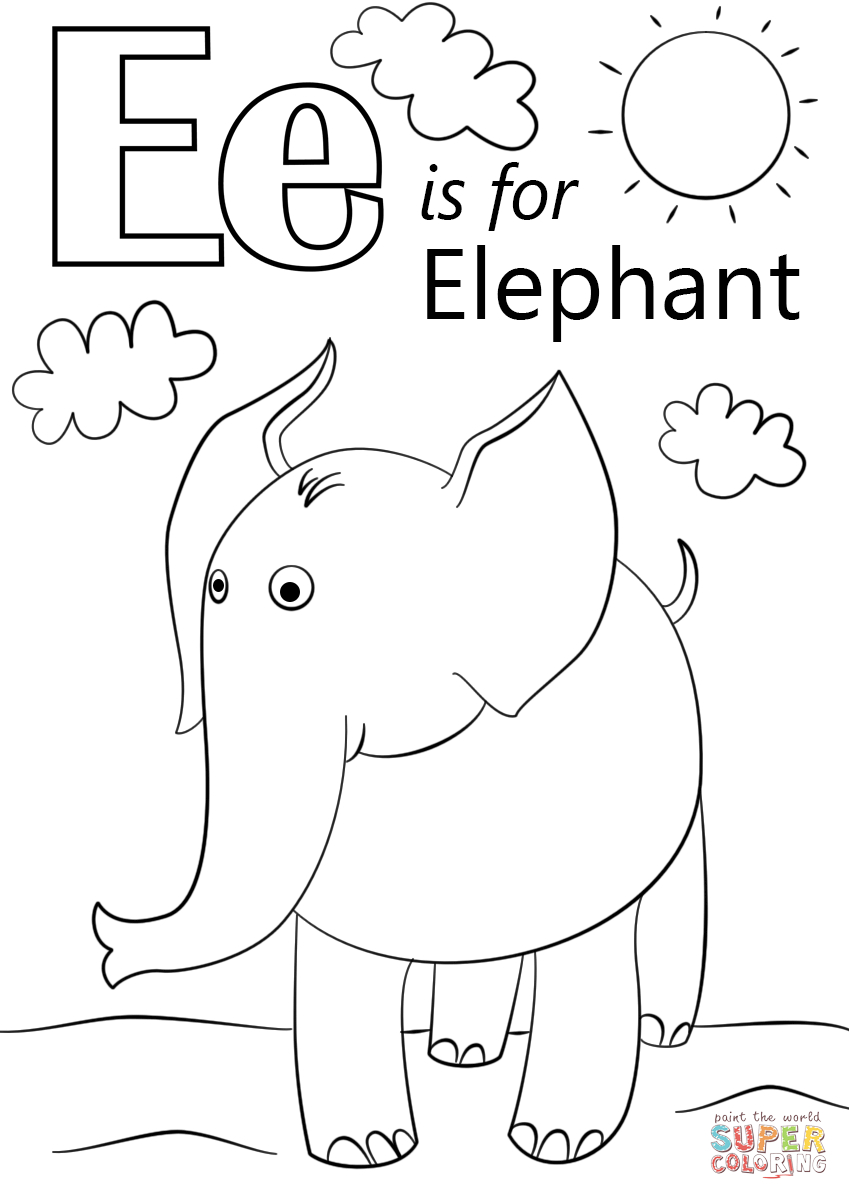 Letter E Is For Elephant Coloring Page | Free Printable Coloring Pages | Free Printable Color By Letter Worksheets