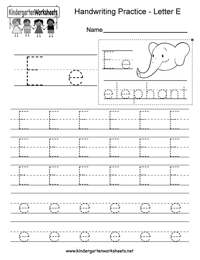 Letter E Writing Practice Worksheet - Free Kindergarten English | Letter E Free Printable Worksheets