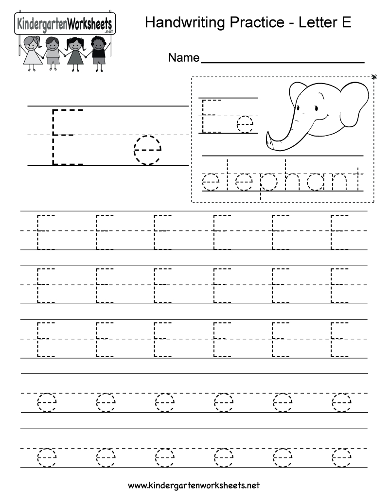 Letter E Writing Practice Worksheet - Free Kindergarten English | Letter E Printable Worksheets