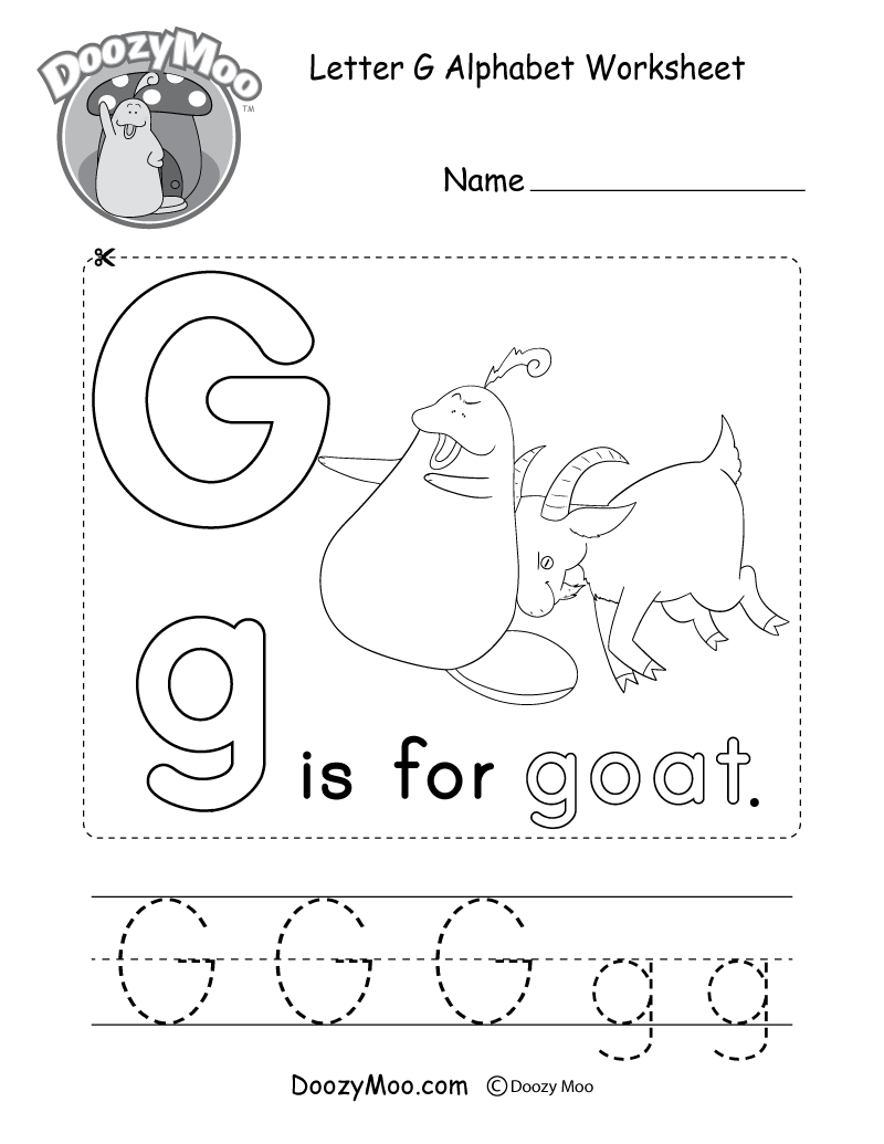 Letter G Alphabet Activity Worksheet - Doozy Moo | Letter G Printable Worksheets