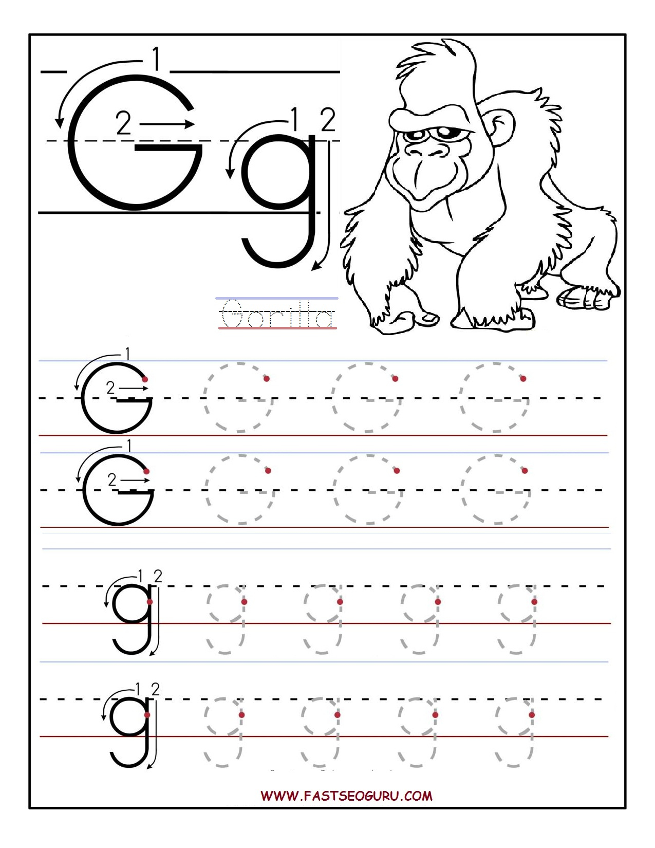 Letter G Worksheets | Gplusnick | Letter G Printable Worksheets