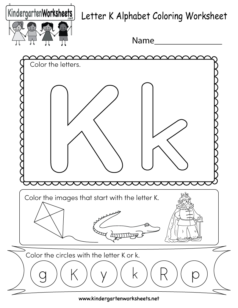 Letter K Coloring Worksheet - Free Kindergarten English Worksheet | Letter K Worksheets Printable