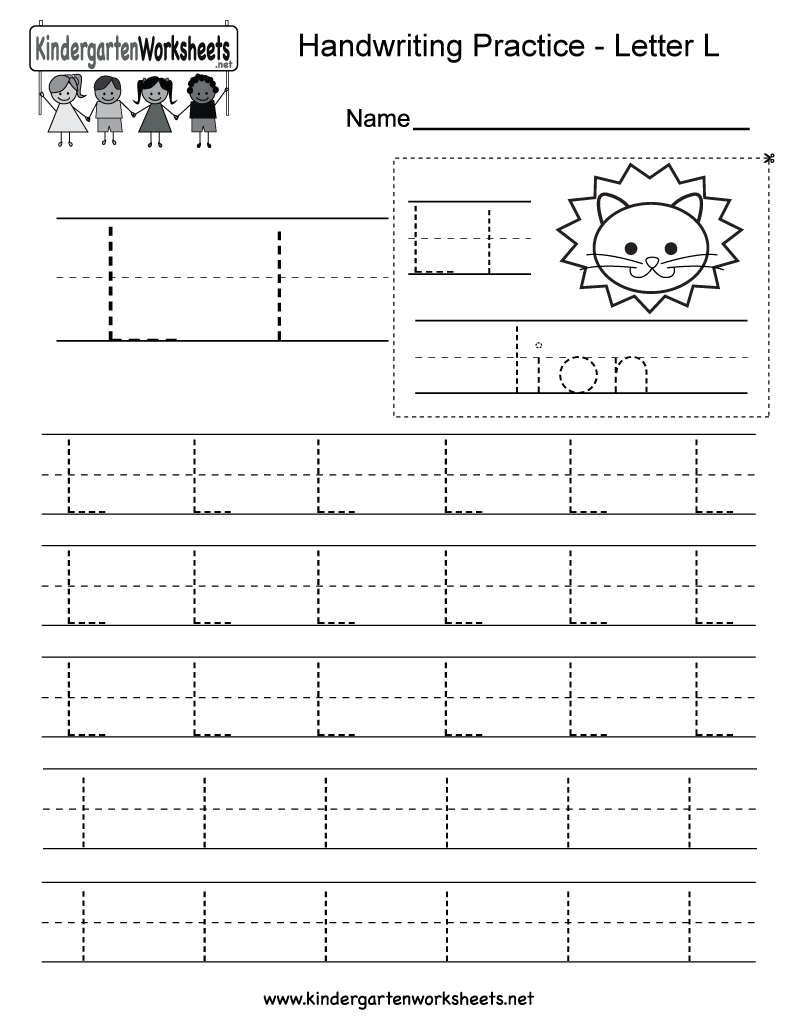 Letter L Writing Practice Worksheet - Free Kindergarten English | Free Printable Letter L Tracing Worksheets