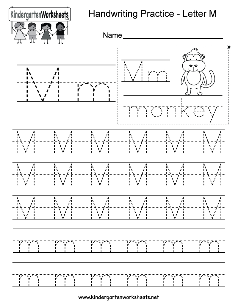 Letter M Writing Practice Worksheet - Free Kindergarten English | Kindergarten Worksheets Printable Writing