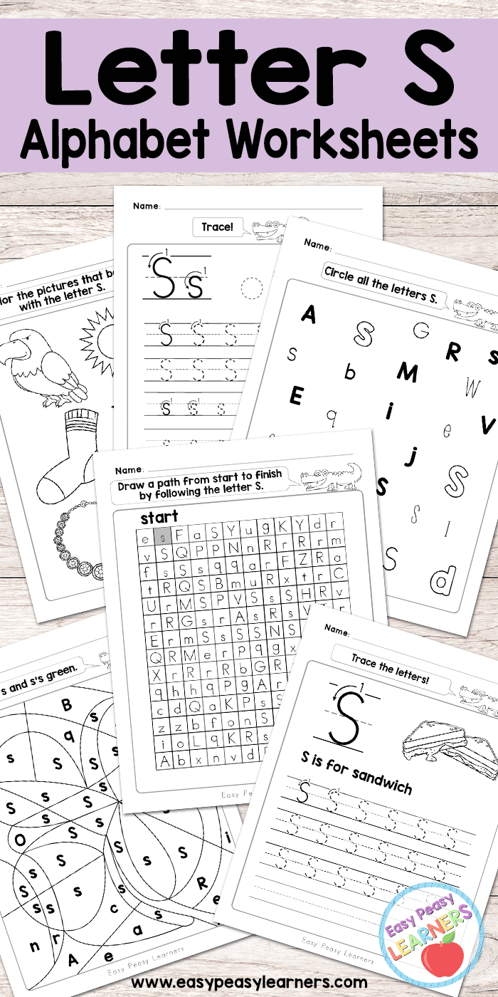 Letter S Worksheets - Alphabet Series - Easy Peasy Learners | Free Printable Letter Worksheets