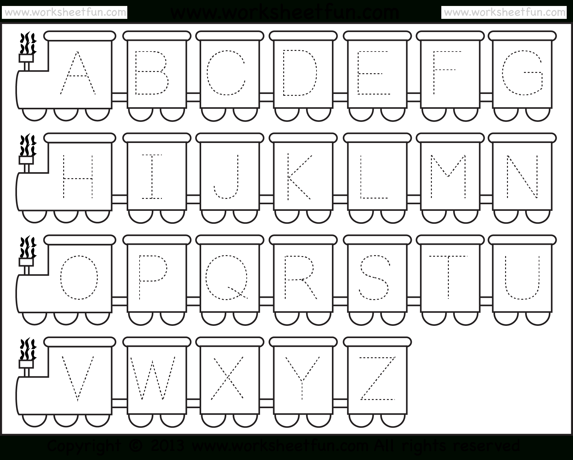 Letter Tracing Worksheet – Train Theme / Free Printable Worksheets | Free Printable Alphabet Worksheets