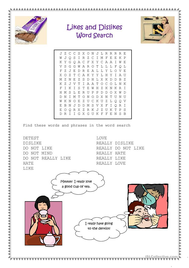 Likes And Dislikes Word Search Worksheet - Free Esl Printable | Likes And Dislikes Printable Worksheets