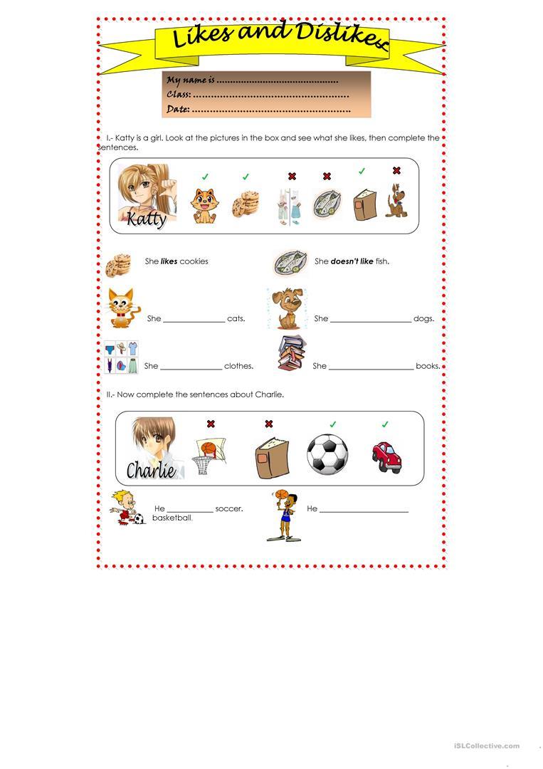 Likes And Dislikes Worksheet - Free Esl Printable Worksheets Made | Likes And Dislikes Worksheets Printable